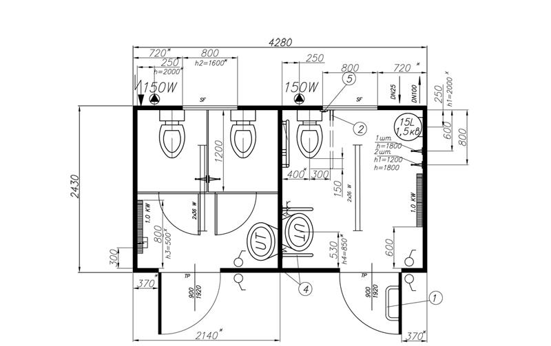 Модульный туалет КМТ-3.4 с